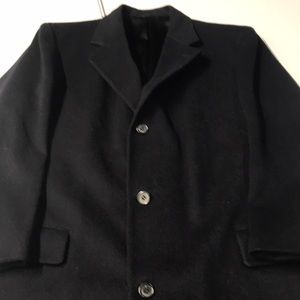Mens Large Blue Wool Trench Coat Winter / Warm